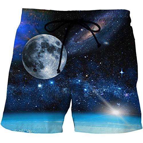 EDFLPUTB Mens 3D Space Galaxy Printed Strand Brett Boxershorts Trunks Sommer Schnellboard Beach Wear Short Show S