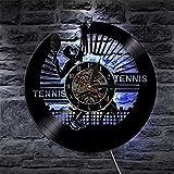SSCLOCK Jugar Tenis Disco de Vinilo Reloj de Pared Deportes retroiluminación led Moderno Retro decoración del hogar Reloj Creativo Regalo Deportes Atleta