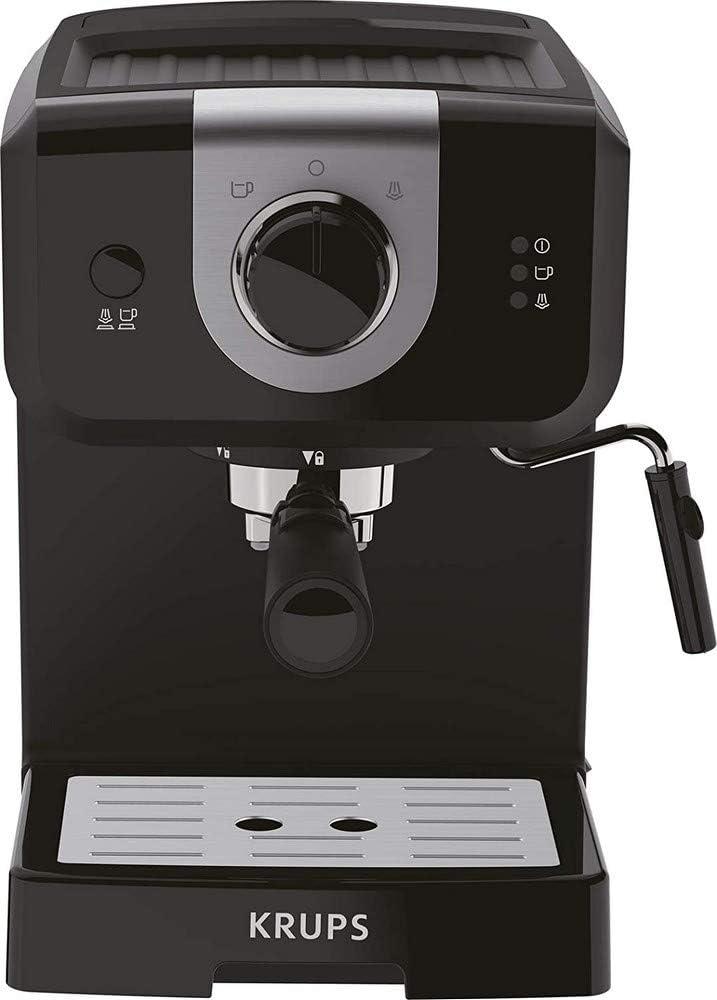 Krups Opio XP320810 - Cafetera, 15 bares de presión, calentador de taza y espumador de leche, control giratorio, negro/plata
