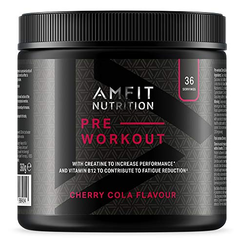 Amazon Brand - Amfit Nutrition - Pre-Workout  Protein- Cherry Cola Flavour 360g, 36 servings