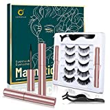 Magnetic Eyelashes with Eyeliner Kit, 5 Pairs Magnetic Eyelashes Natural Look, 2 Tubes of Magnetic Eyeliner, Upgraded Reusable 3D Magnetic Lashes and Eyeliner with Tweezers