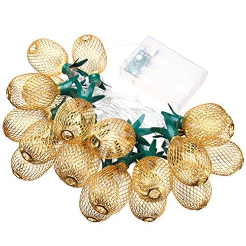 LEDMOMO Guirlande lumineuse en forme d'ananas alimentée par piles 10 LED pour maison, fête, mariage, chambre à coucher, décoration d'anniversaire (blanc chaud)