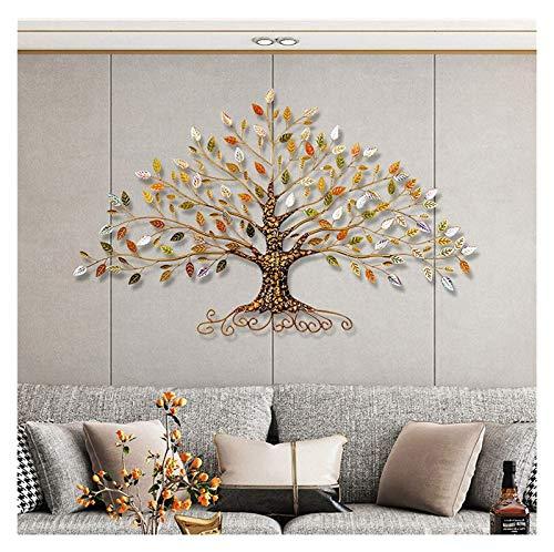 Decoración de la pared de metal, Árbol de la vida con oro / verde / de cristal Hojas de la pared Decoración de pared arte de metal, creativo contemporáneo ilustraciones ornamento duradero liso para in