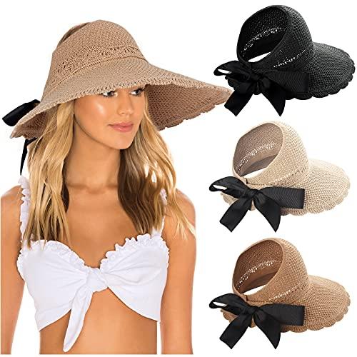 3pcs Foldable Wide Brim Straw Hats Sun Visors for Women, Bow Beach Hat Summer