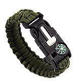 Hoomall Bracelet de Survie Paracord avec Boussole Whistle Allume-feu pour Le Randonnée Canotage Chasse 26cm Vert