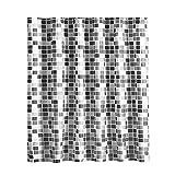 Yisily Cortina De Ducha, Cortina Modelo De Mosaico Curtain Antimoho De Ducha Impermeable Resistente Tejido De Poliéster Mildew para Baño 180x180cm (71x71 Pulgadas)