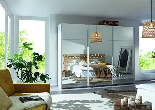 Rauch Kleiderschrank/Schwebetürenschrank Caracas 3-türig. Weiß Alpin mit kompletter Spiegelfront, 6 Einlegeböden, 2 Kleiderstangen, 1 Hakenleiste, Türdämpfer-Set, BxHxT 271x210x62 cm