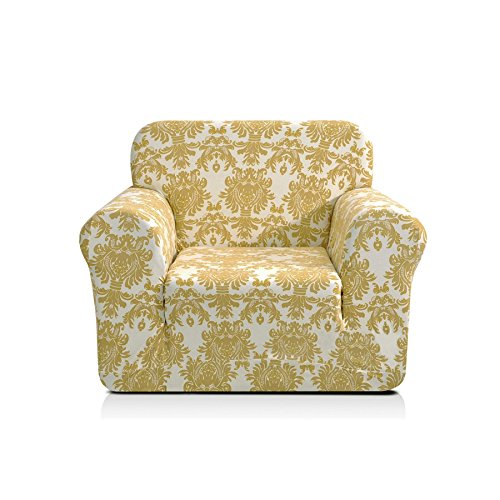 CHUN YI 1-Piece Stylish Printed Polyester Spandex Fabric Armchair Slipcover Soft Elastic Sofa Couch Cover for 1 Seat Arm Chair (Chair, Yellow Flower)
