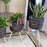 B/H Cesta de Mimbre de Pared,Maceta de pie-Negro_Tamaño Grande (27 * 21 * 60 cm),Contenedor Exterior de Plantas en macetas con Flores