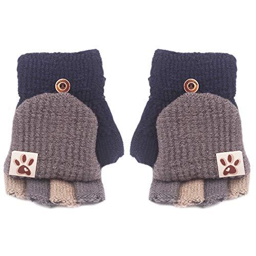MAGIMODAC Halbfinger Handschuhe mit Klappe Kappe 5-10 Jahre Mädchen Jungen Winter Fäustlinge Strickhandschuhe Winterhandschuhe Fingerlos Kinder (Hundabdruck Blau)
