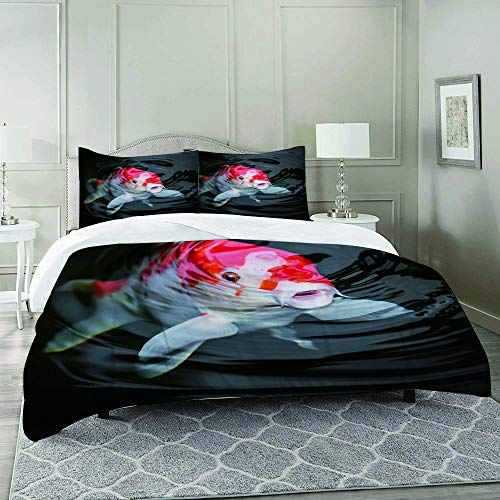 DIIRCYB Duvet Cover Set-Bedding,Red Fish Japan Koi Carp in Pond Ammonia Ammonium Breeding Carbohydrates Farming,Quilt Cover Bedlinen-Microfibre 200×200CM with 2 Pillowcase 50×80CM