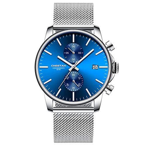 Relojes para Hombre Moda Cuarzo Analógico Malla de Plata Reloj de Pulsera de Acero Inoxidable con cronógrafo a Prueba de Agua, Fecha automática en Manos Plateadas