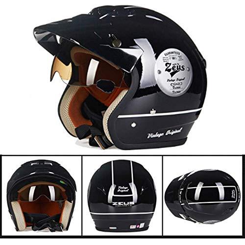 Motocross Helm Harley Retro Half Helm Heren en Dames fietshelm Scooter Snowboard Cruiser Head Beschermende Gear Four Seasons Sunscreen Inner Belt zonnebril uitneembare voering 8bayfa (Size : XXL)