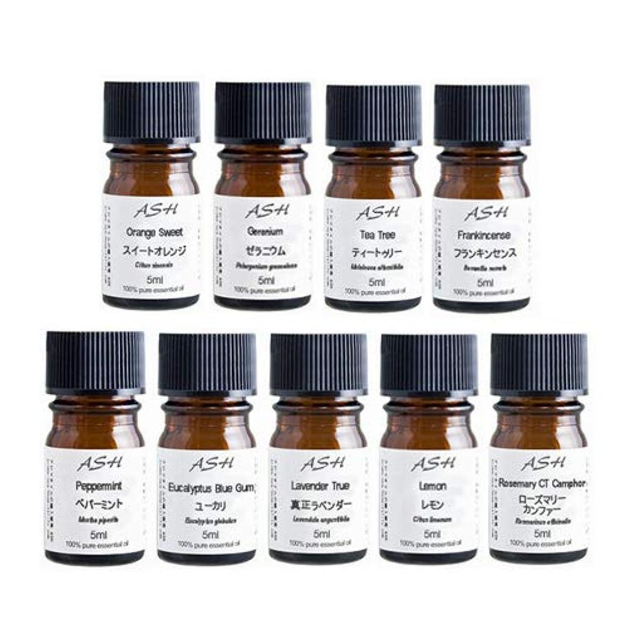 チャンバー健康的故障ASH アロマ検定 2級 対応 セット 5mlx9本(スイートオレンジ、ゼラニウム、ティートゥリー、フラン キンセンス、ペパーミント、ユーカリ、ラベンダー、レモン、ローズマリー)AEAJ表示基準適合認定精油