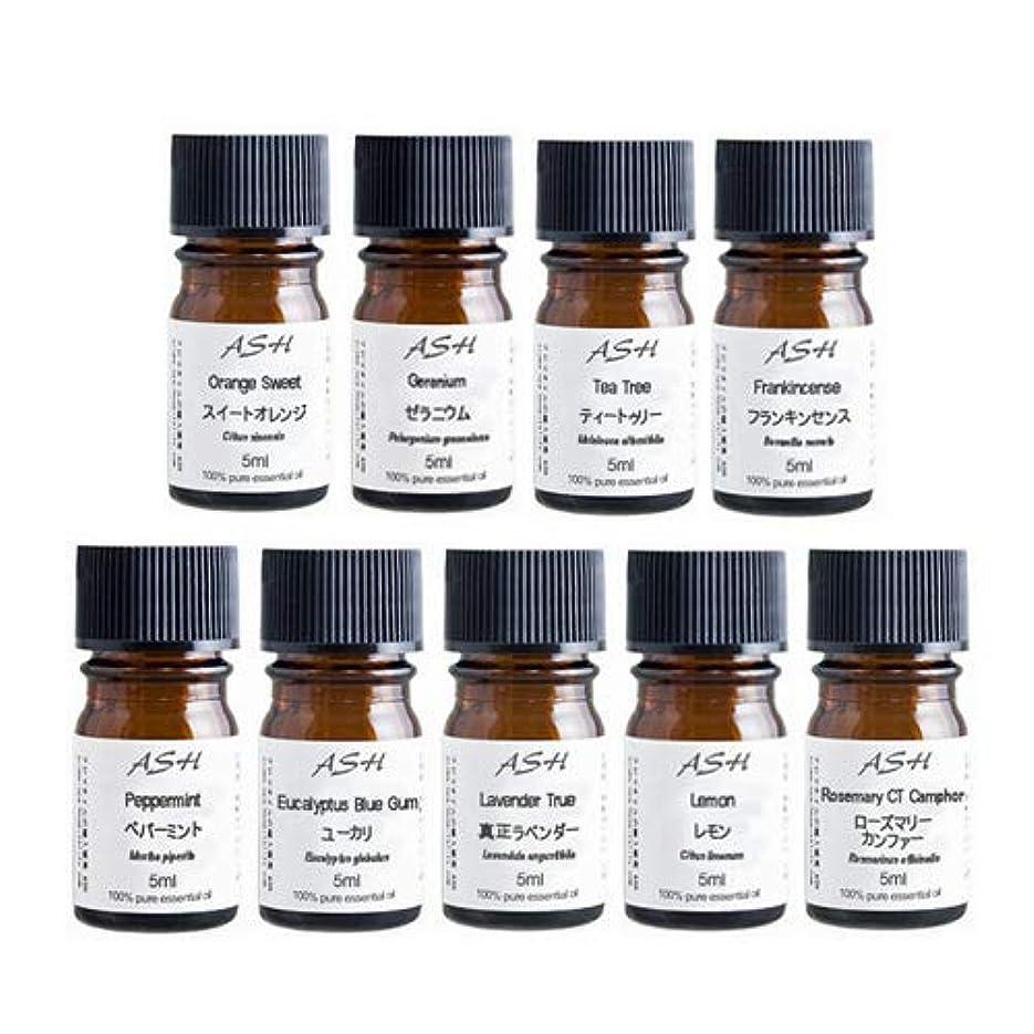 簡略化する自分のために配列ASH アロマ検定 2級 対応 セット 5mlx9本(スイートオレンジ、ゼラニウム、ティートゥリー、フラン キンセンス、ペパーミント、ユーカリ、ラベンダー、レモン、ローズマリー)AEAJ表示基準適合認定精油