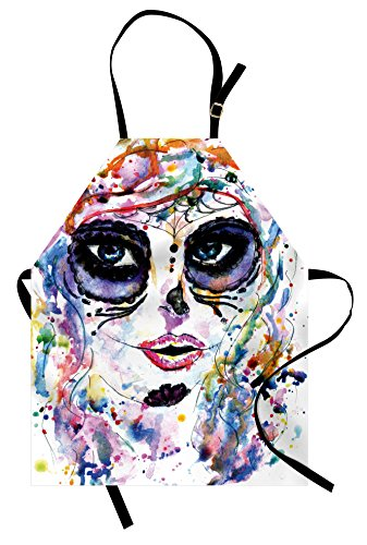 Ambesonne Sugar Skull Apron, Halloween Girl with Sugar Skull Makeup Watercolor Painting Style Creepy Look, Unisex Kitchen Bib with Adjustable Neck for Cooking Gardening, Adult Size, Pale Lavender