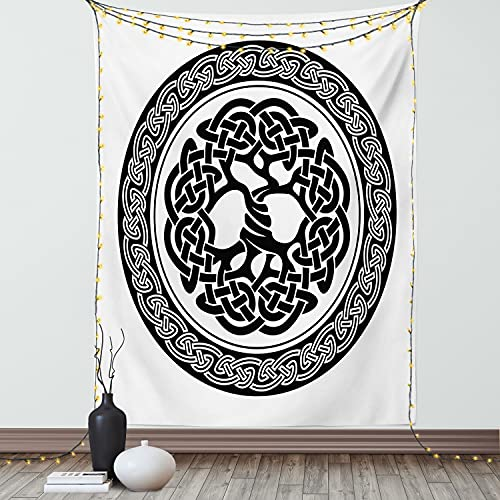 Ambesonne Celtic Tapestry, Native Celtic Tree of Life Ireland Early Renaissance Modern Design, Wall Hanging for Bedroom Living Room Dorm Decor, 40' X 60', Black White