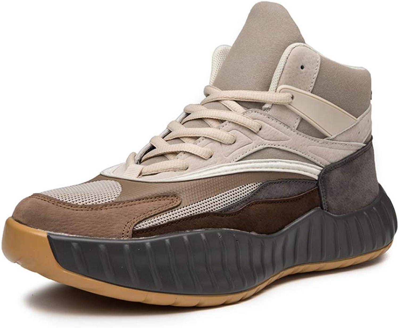 YSZDM Basketball-Schuhe, strapazierfhige, Rutschfeste High-Top-Turnschuhe Dmpfung atmungsaktive Herren Outdoor-Stiefel,Beige,41