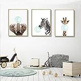 Juego de 3 Cuadros Animales Jirafa Cebra Elefante Pósteres Impresion en Lienzo Láminas Decorativas...