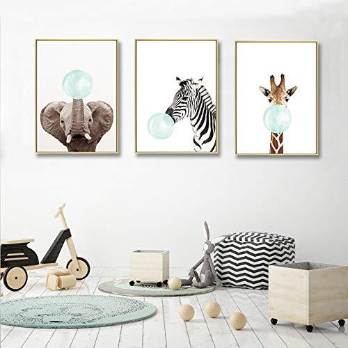 Juego de 3 Cuadros Animales Jirafa Cebra Elefante Pósteres Impresion en Lienzo Láminas Decorativas Pared Infantil Imagen de Niños Decorar Habitaciones de Bebe Regalo Impresiones de Lienzo PTANB004-M