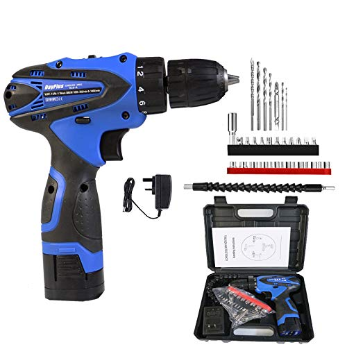 Tool Kit with Drill, 16.8V Cordless Drill Driver & Home Tool Kit, with 1.5Ah Battery and Fast Charger, Socket Screwdriver, Storage Toolbox, Best Gift for Women