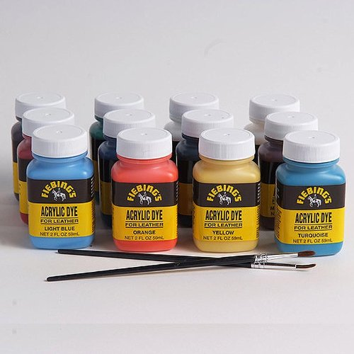 Fiebing's Acrylic Leather Dye Pack - 2 Ounces, Set of 12