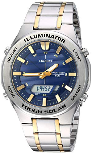Casio Men's Tough Solar Quartz Watch with Stainless-Steel Strap, Two Tone, 23.8 (Model: AMW-S850SG-2AVCF)