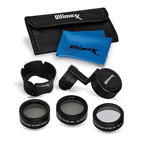 Ultimaxx 7 Piece Drone Camera Filter Bundle Kit for DJI Phantom 4 Pro, Phantom 4 Pro+ and Phantom 4 Advance Quadcopter w/Filters, Lens Hood, Gimbal Stabilizer, Carry Case