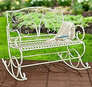 TGDMshop Bench/Metal Rocking Type Antique Style Size 41.5 inches (W) x 38.25 inches (D) x 38.625 inches (H) White Color Set of 1