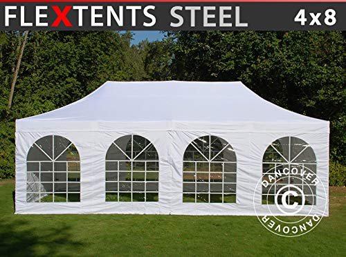 Dancover Vouwtent/Easy up tent FleXtents Steel 4x8m Wit, inkl. 4 Zijwanden