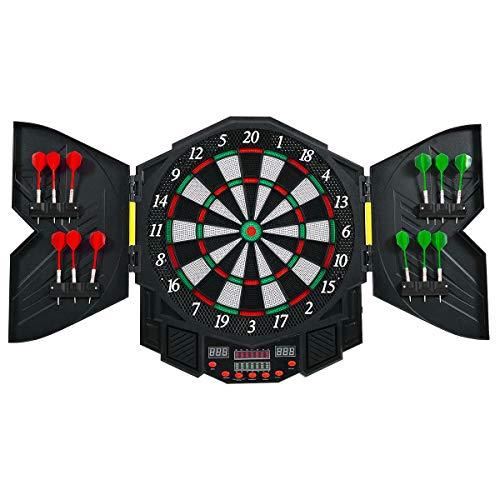 COSTWAY Dartautomat mit 27 Spiele mit 216 Variationen, Dartscheibe elektronisch, Dartboard LED Displays und Staubschutz, Turnierscheibe inkl. 12 Dartpfeile und Ersatzsspitzen (Modell 1)