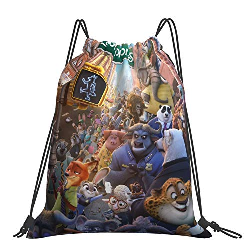 Crazy Animal City Chief Niu Cottontail Rabbit Red Fox Sack Drawstring Backpack Outdoor Portable Backpacks Large Capacity School Bag Canvas Sports Swimming Travel Beach Unisex Rucksack