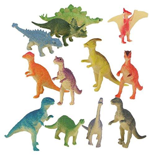 Joyin Juego de dinosaurios modelo 12 piezas de plástico simulación dinosaurio juguete para niños Mini estatua de animales realistas
