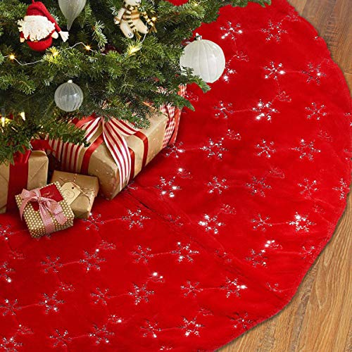 TOBEHIGHER Christmas Tree Skirt - 48 Inches Large Red Tree Skirt with High - End Soft Faux Fur Tree Skirt for Christmas Decorations Indoor Outdoor - Red