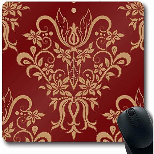 Mouse Pad Roter Rokoko-Damast-Zusammenfassungs-Italien-Fliesen-Antiken-Barock-Geburtstags-Grenzentwurfs-Luxus-Mousepads Gummi-Spiel-Mausunterlage Büro-Rutschfester Länglicher Matten-Laptop 25X30Cm