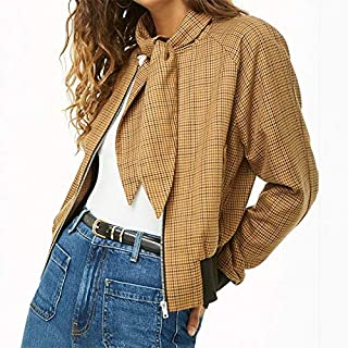 HAWEEL Plaid Jacket (Color:Yellow Size:S) Windbreaker Jacket