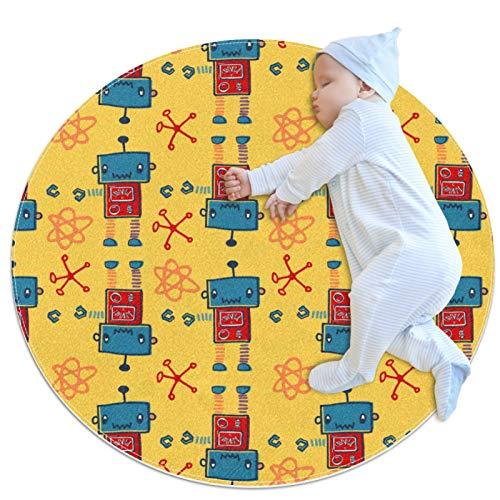 Divertido patrón de robot de dibujos animados para guardería, alfombra redonda para niños, tapete de juego para niños y niñas, alfombra suave para bebés, sala de estar, cama