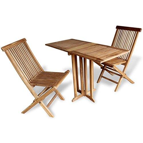 LD Teak Balkonset, zitgroep, tuinmeubelen, hout, tuintafel, stoel, inklapbaar