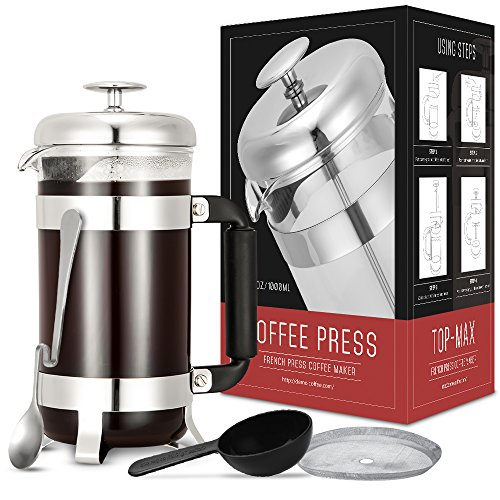 Coffee Press, TOP-MAX French Press Maker with 4 Level Filtration System(8 Cup, 34 Oz), Heat Resistant Borosilicate Glass