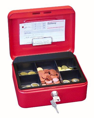 Wedo 145202H Geldkassette (aus pulverbeschichtetem Stahl, versenkbarer Griff, Geldnoten- und Belegeklammer, 5-Fächer-Münzeinsatz, Sicherheits-Zylinderschloss, 20 x 16 x 9 cm) rot