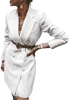 Women Double Dreasted Lapel Collar Long Sleeve Blazer Office Mini Dress