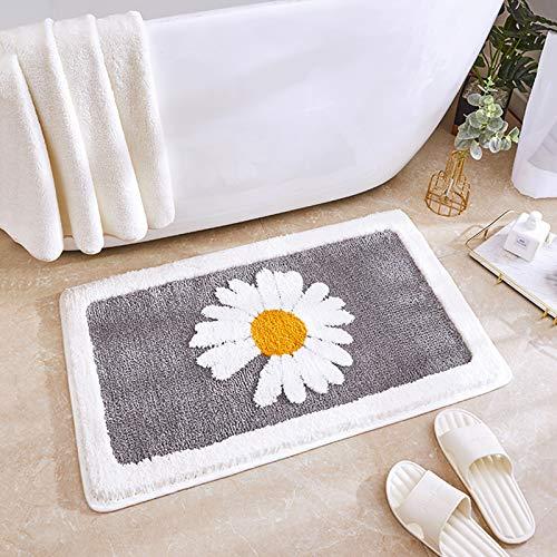 "Luxury Plush Comfortable Carpet for Bath Room,Beautiful Daisy Design,Perfect Decoration Small Plush Non Slip Carpet,Machine Washable,Thick Super Soft Best Absorbent Bathroom Mat Rugs(Grey,20""x30"")"