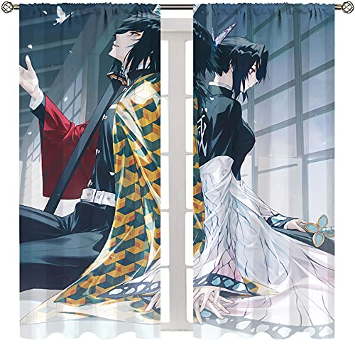 Cortina de ducha Lush Decor Anime Demon Slayer Tomioka Giyuu y Kochou Shinobu cortina ligera de 155 x 163 cm
