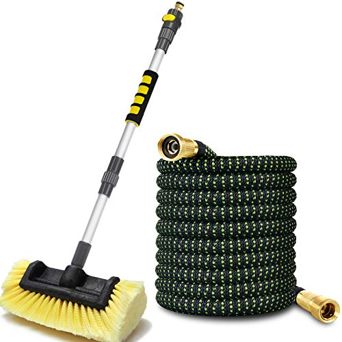 """Anyyion Car Wash Brush with 50ft-Expandable Garden Hose, 51-inch Dismountable Pole with on/off switch,Strongest Triple Latex Core Hose with 3/4"""" Solid Brass, Easy Storage Kink Free Water Hose (50)"""