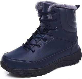حذاء شتوي للرجال من Yuar butee حذاء شتوي مبطن بالفرو دافئ للمشي في الهواء الطلق أحذية برقبة مضادة للماء للرجال