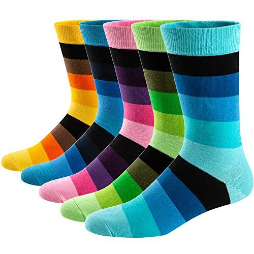 Ueither Calcetines Estampados Hombre Casuales Divertidos Calcetines altos de Colores con Algodón Fino (42-48, Color 12)