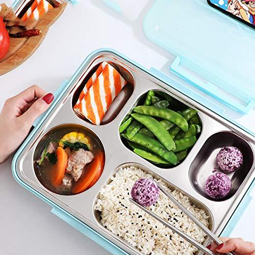 YBNB Bento Box, Edelstahl 304 Fast-Food-Tablett Mit Studentenfach Platz Wasser Isolierung Bentobox Große Kapazität Portable Lunchbox Multi Grid,Blau
