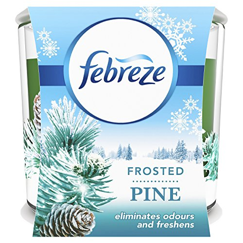 Febreze Scented Candle with Spiced Frosted Pine to Eliminate Odours, 100 g, Pack of 4