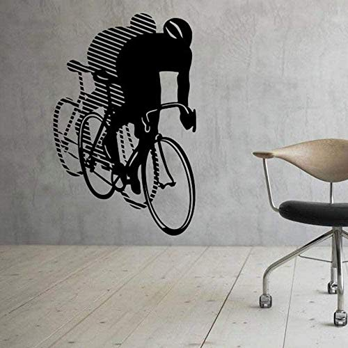 Etiqueta de la pared PVC removible pared calcomanía bicicleta con amplificador invertido como pared deportes bicicleta dormitorio decoración 57x88Cm