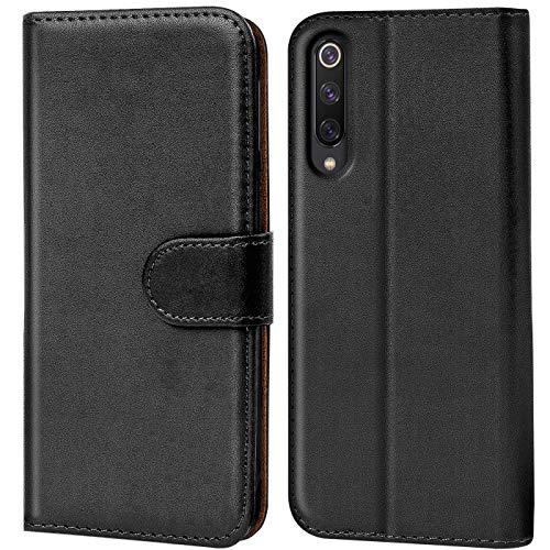 Verco kompatibel mit Xiaomi Mi 9 Hülle, Handyhülle für Xiaomi Mi 9 Tasche PU Leder Flip Hülle Brieftasche - Schwarz